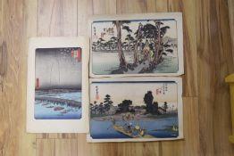 Three Japanese wood block print, Landscapes, 25 x 37cm, unframed
