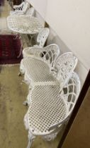 A five piece white painted metal alloy garden suite comprising two benches, length 137cm, pair of