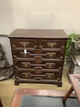An early 18th century style geometric moulded oak chest of five drawers, width 98cm