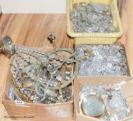 A quantity of crystal drops for chandeliers and various glass arms etc