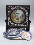 A carved Chinese table stand, 43cm, a mandarin hat and a set of mats