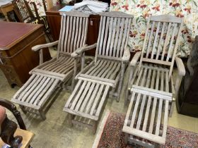 A pair of Alexander Rose teak folding steamer chairs and one other similar chair (3)