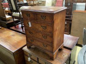 A small reproduction burr elm five drawer chest, width 60cm, depth 37cm, height 72cm