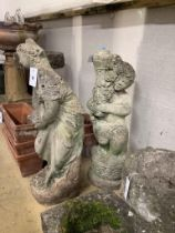 A reconstituted stone garden figure of a girl, height 70cm and another figure lacking its top