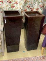 A pair of large brown glazed pottery garden planters, height 90cm