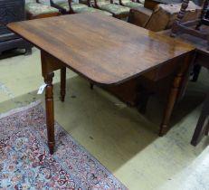An early Victorian oak drop leaf dining table, length 90cm,
