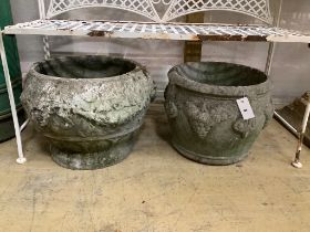 Two reconstituted stone garden planters, larger width 47cm
