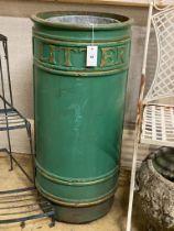 A green painted cast iron litter bin with zinc liner, height 86cm, diameter 40cm