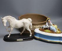 A Doulton silicon Lambeth planter, A Royal Doulton 'Spirit of Freedom' horse and a figural