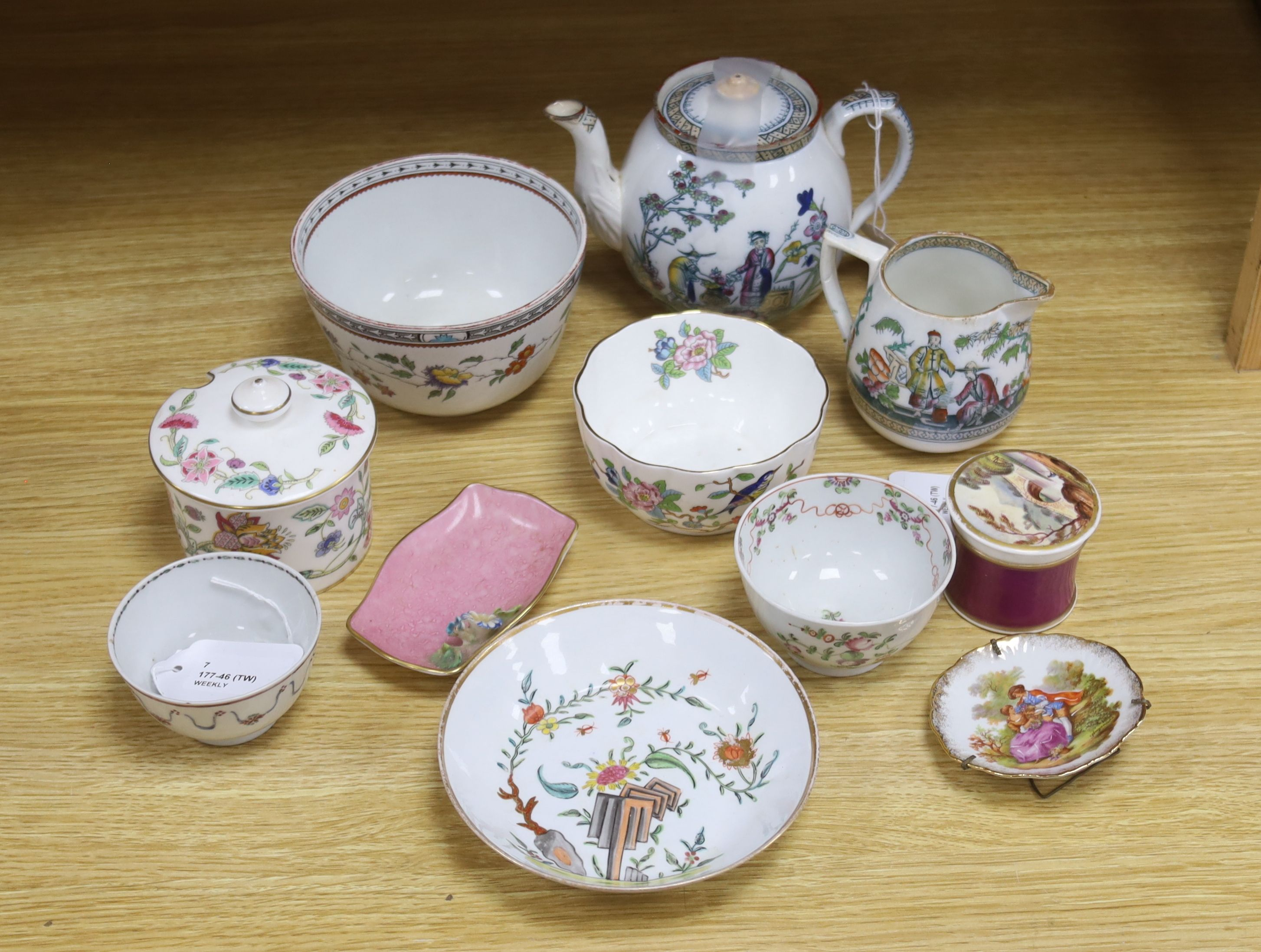 A small collection of English and Continental ceramics, including two 18th century tea bowlswith