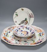 A Masons patent ironstone Imari pattern meat dish, 47cm, four plates and a Minton WS Coleman duck