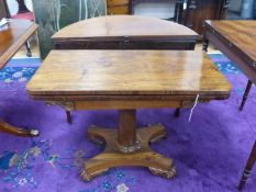 A Victorian rectangular rosewood folding card table, width 91cm, depth 45cm, height 67cm