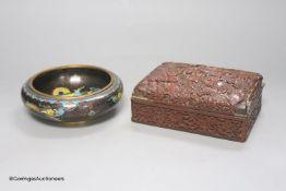 A 1920's Chinese cloisonne enamel 'dragon' bowl and a cinnabar lacquer box, 15 x 11 x 5cm