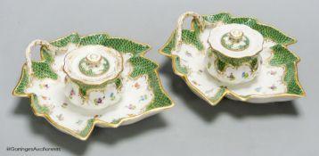 A pair of Dresden porcelain inkwells, length 19cm