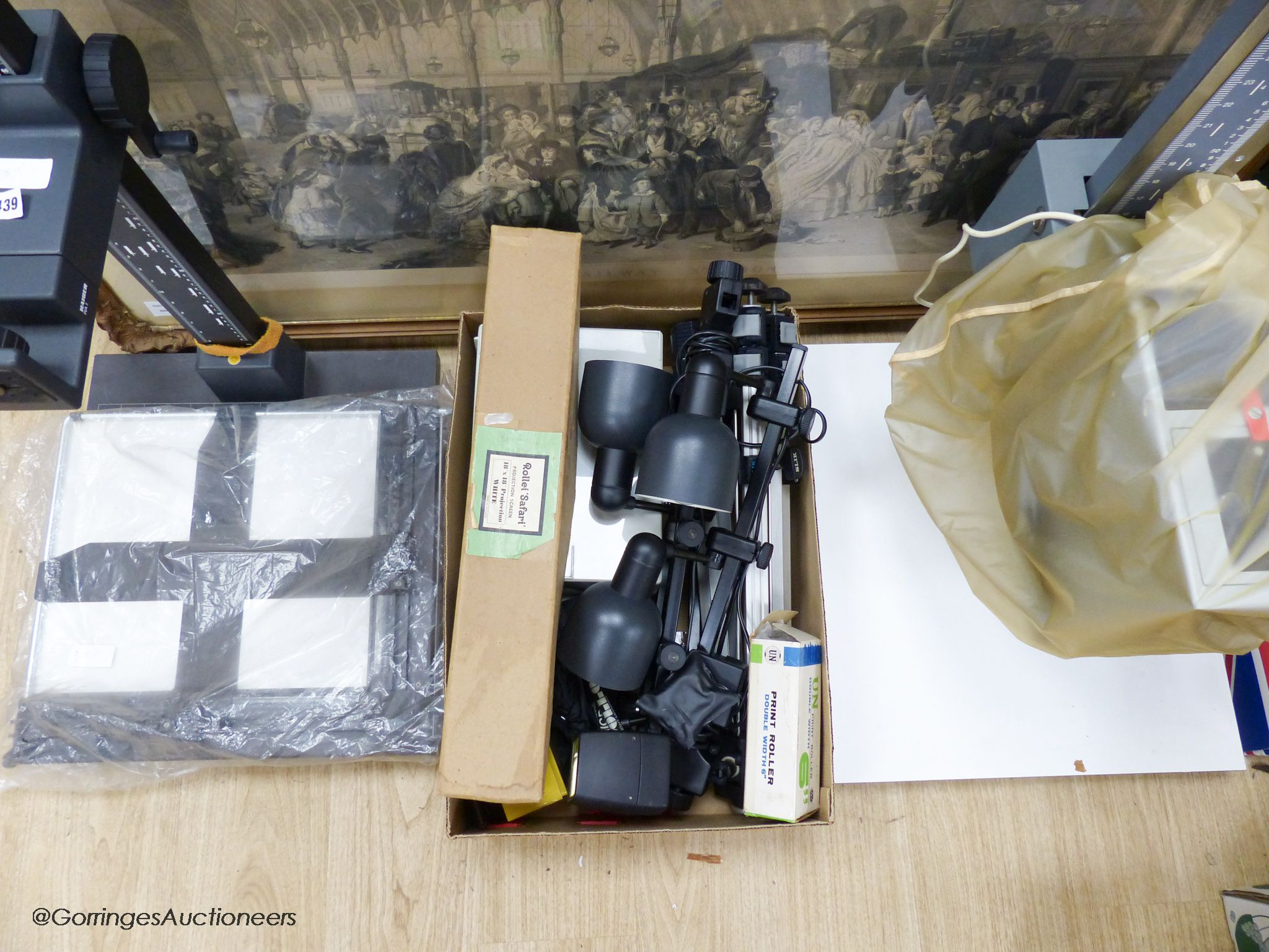 A collection of 20th century photographic accessories to include a Durst M800 enlarger and base, a - Image 2 of 2
