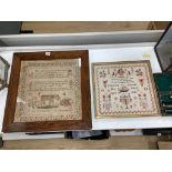 A William IV needlework sampler, worked with text and a lion, by Elizabeth Smith, dated 1836 and a