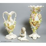 A Royal Copenhagen figure and a pair of Coalport style vases, tallest 31cm