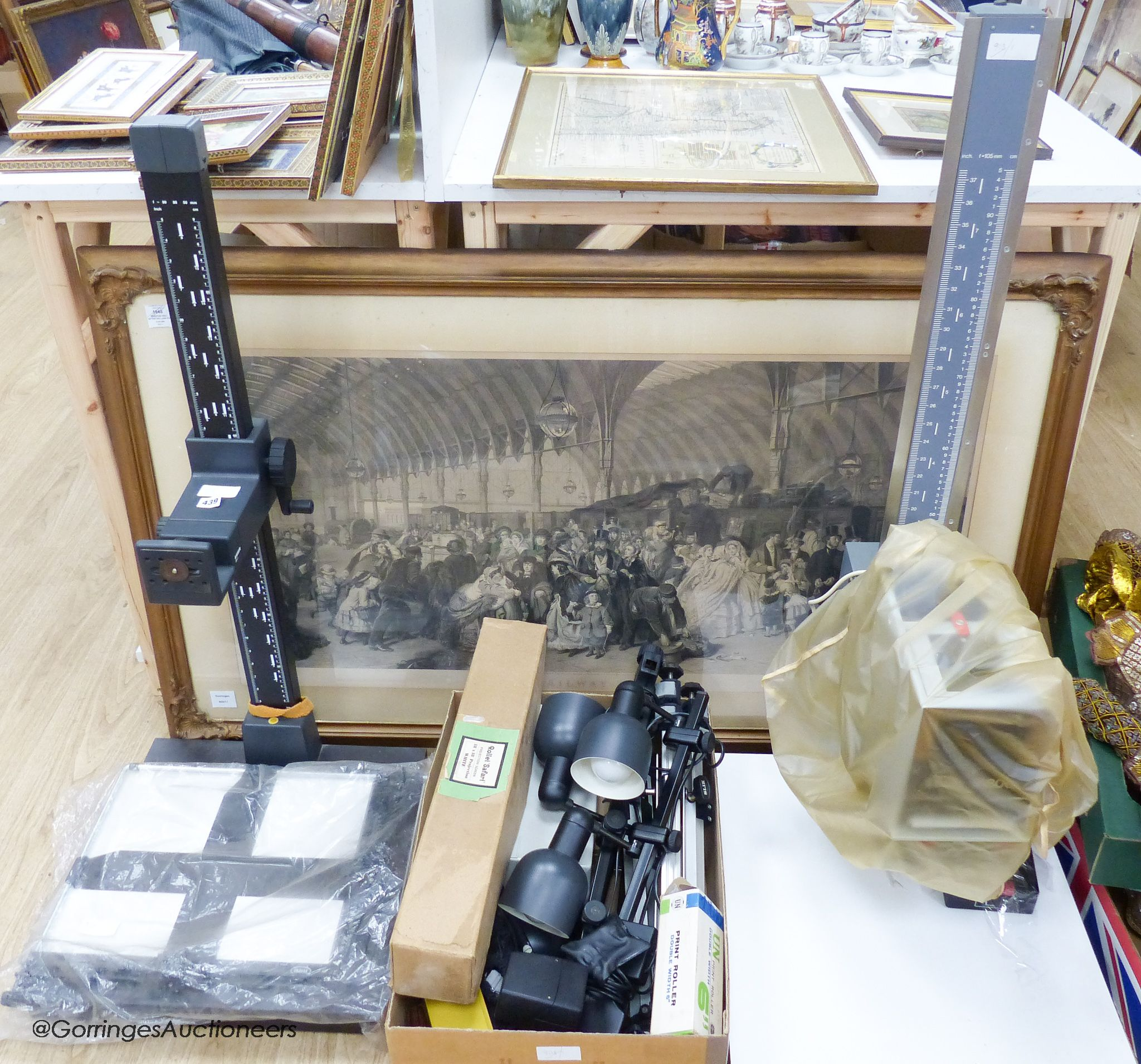 A collection of 20th century photographic accessories to include a Durst M800 enlarger and base, a