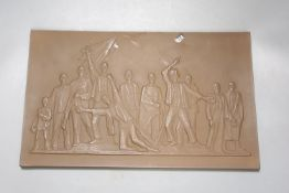 A Meissen Bottger Steinzeug Holocaust plaque, length 28cm