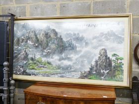 A Chinese watercolour of Cranes in flight, 158 x 77cm