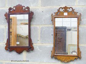 Two George III style walnut fret cut wall mirrors, largest W.37cm. H.67cm
