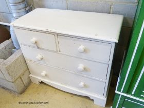 A Victorian painted pine chest of drawers, W.94cm D.44cm H.81cm
