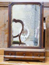 An early 18th century walnut toilet mirror, W.42cm H.63cm