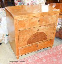 A Biedermier birch three drawer commode, W.75cm D.47cm H.77cm