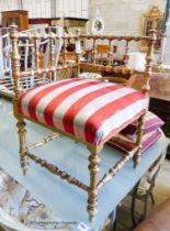 A late Victorian giltwood bobbin turned corner chair