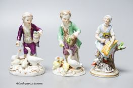 A Meissen porcelain group of a boy and ducks together with two Continental porcelain figures,