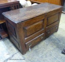 An 18th century pine mule chest, L.117cm D.49cm H.68cm