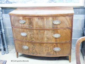 A Regency banded mahogany bow fronted three drawer chest of drawers, W.109cm D.53cm H.92cm