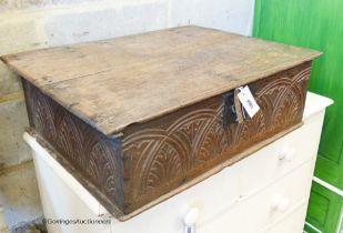 An 18th century carved oak bible box, W.72cm D.52cm H.22cm