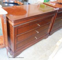 A reproduction French style mahogany four drawer chest, width 118cm, depth 51cm, height 83cm