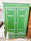 A late Victorian painted pine two door wardrobe, W.120cm H.212cm