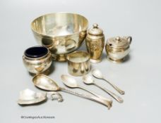 A small collection of English silver and plate to include a footed bowl, mustard pot and salt,