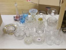 A collection of 19th century glass rinsers, tumblers, vases, etc.