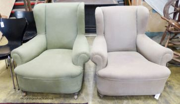 A pair of 1920's upholstered wing armhairs, larger 90cm, depth 100cm, height 93cm