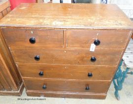 A Victorian scumbled pine chest of drawers, W-105, D-53, H-103cm.