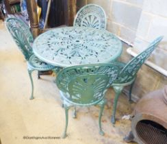 A Victorian style circular aluminium garden table, diameter 80cm, together with four matching