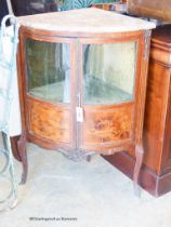 A 19th century French marquetry inlaid marble top bow front corner cabinet, width 66cm, depth 45cm,