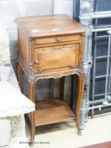 A late 19th century French walnut bedside cupboard, W.42cm D.40cm H.83cm