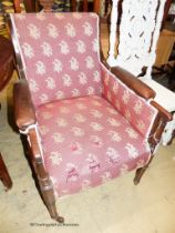 A Regency mahogany bergere armchair, W.66cm D.75cm H.92cm (a.f.)