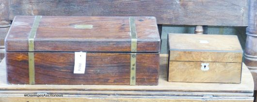 A Victorian brass bound rosewood writing slope, W.50cm, together with a Victorian walnut work box