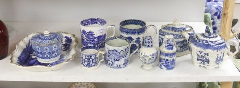 A collection of English blue and white pottery, various dates, comprising a moulded hexagonal