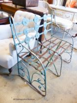 An early 20th century painted wrought iron garden bench, length 90cm, depth 56cm, height 96cm