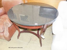 A reproduction French Empire style circular mahogany marble top centre table, diameter 96cm, height
