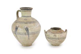 Two Cypro-archaic vessels, c.600-450 BC,H 46cm. & 21cm.