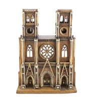 A 19th-century French walnut and ivory model of Notre Dame Cathedralwith carved and pierced windows