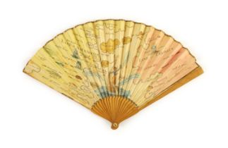 A rare 18th century 'Land of Matrimony' and 'Land of Celibacy' fan, 17.5cm long
